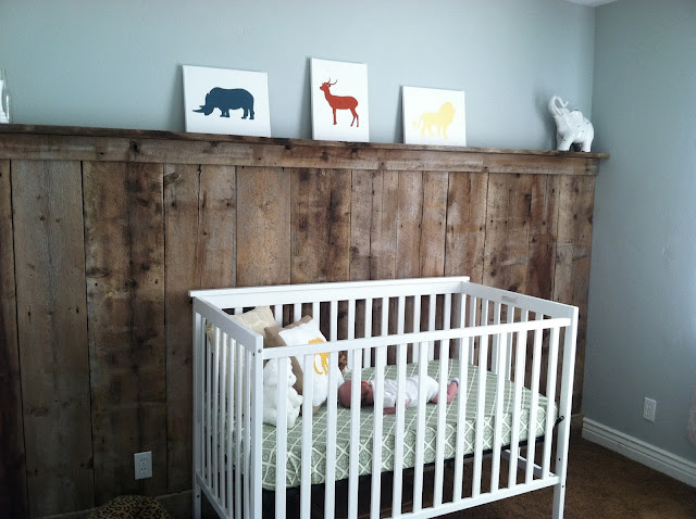 barnwood wall,, animal nursery, simple nursery