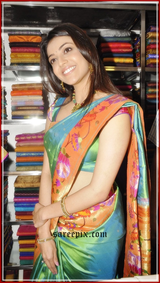Kajal Agarwal silk saree pic at kalaniketan