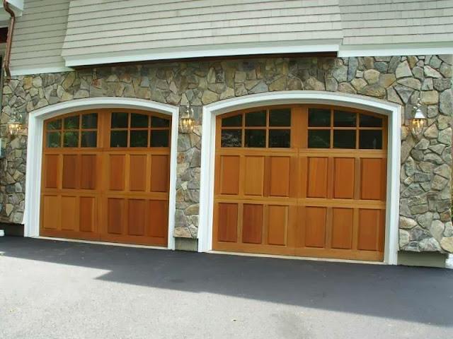 Garage door wood veneer ayanahouse for Wood veneer garage doors