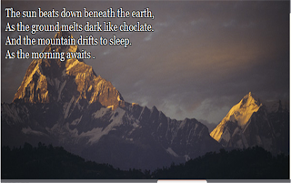 mountains with a poem written in the background