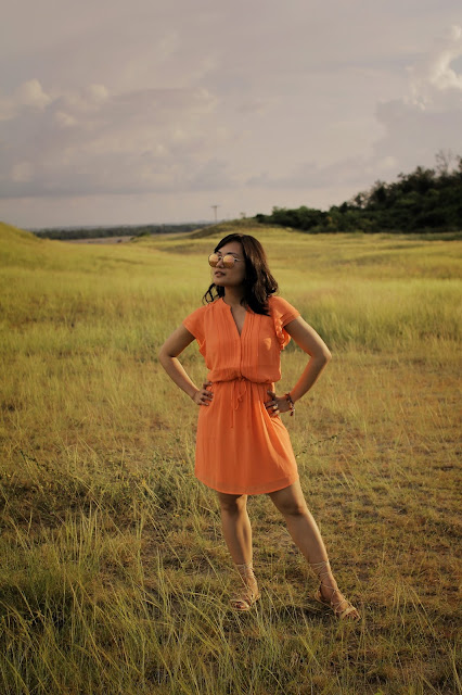 La paz sand dunes, coral H&M  dress, rayban, Ilocos Norte, Philippines, lace up sandals