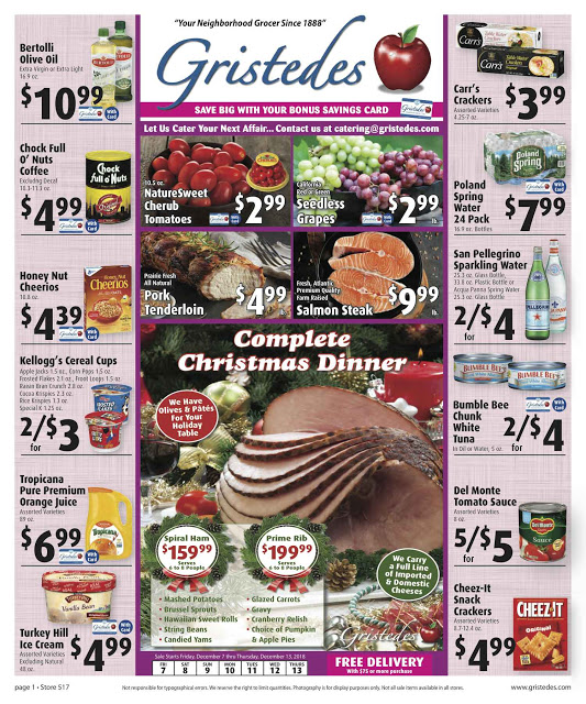 CHECK OUT ROOSEVELT ISLAND GRISTEDES Products, Sales & Specials For December 6 - December 13