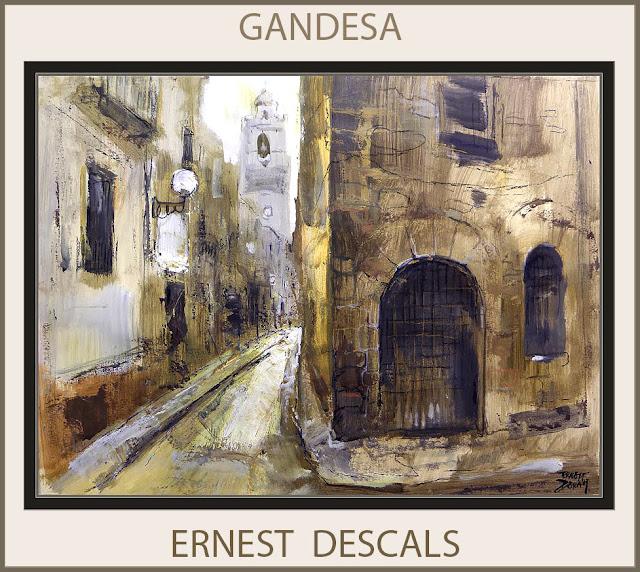 GANDESA-PINTURA-CATALUNYA-PAISATGES-TERRA ALTA-TARRAGONA-ESGLESIA-ARTISTA-PINTOR-ERNEST DESCALS