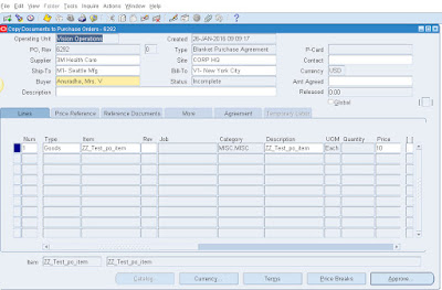 Oracle Purchase Order Creation