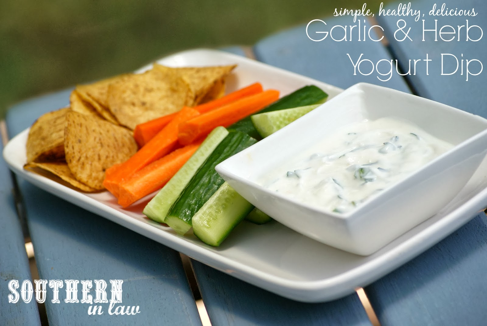 Healthy Garlic and Herb Yogurt Dip with Vegetable Crudites and Corn Chips - Healthy, Gluten Free, Low Fat, Clean Eating Friendly, Sugar Free