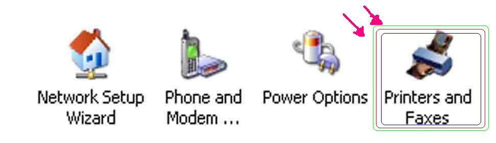 ... Panel ( start --> Control panel ), klik 2 kali Printer and Faxes