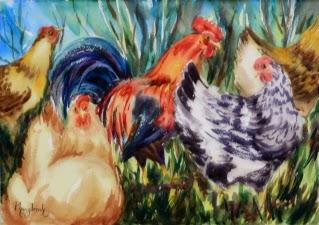 Striking  Bold Brush Strokes, Watercolor Painting Birds, Farm Animals, Chicken in Farm Yard