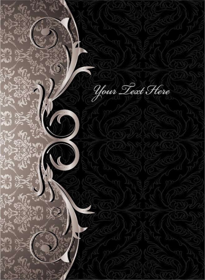 お洒落なダマスク織り背景のテキストスペース gorgeous european classical pattern イラスト素材2