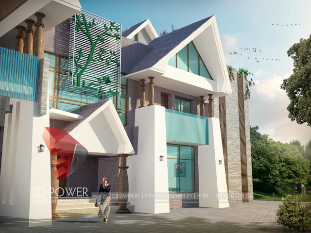 3d Bungalow elevation views makao