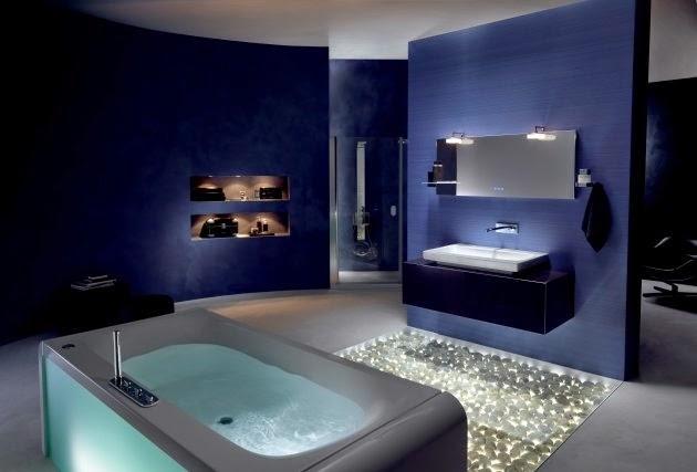 Imagenes De Baños Azules:Si nuestro baño es amplio las paredes pueden ser azules, de lo