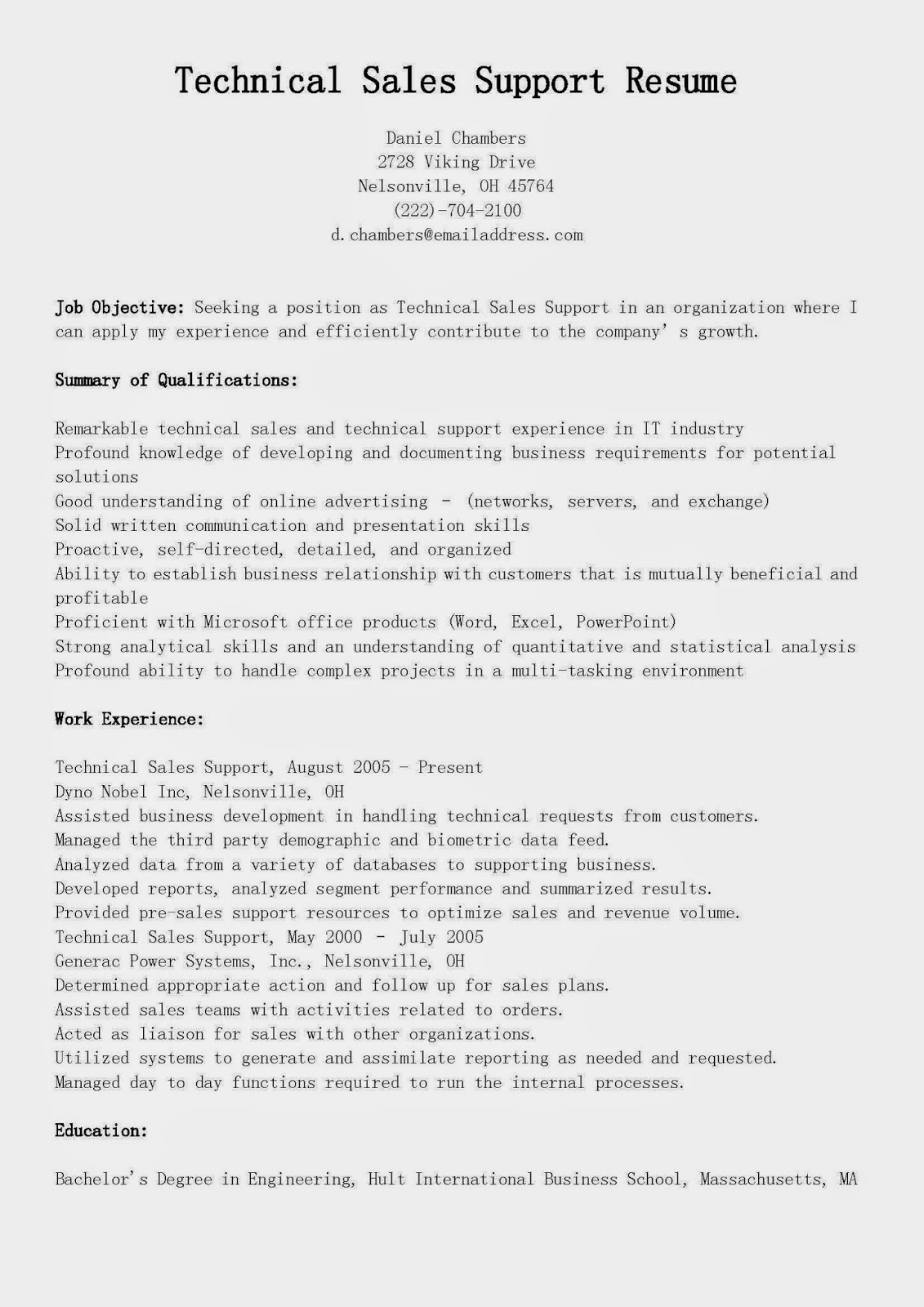 resume samples  technical sales support resume sample
