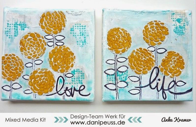 Tutorial Love Life Canvas mit dem dp Mixed Media Kit Februar von Anke für www.danipeuss.de