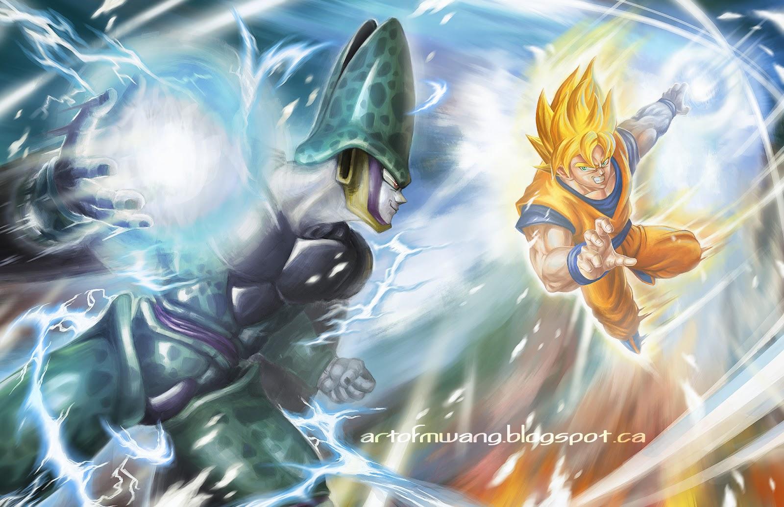 Artblog by Michael Wang: first digital fan art, Goku vs Cell - photo#29