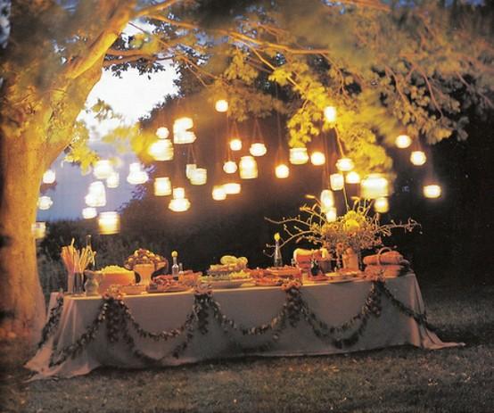 Outdoor Hanging Tree Lights: Pink Balloons And Macarons: Mason Jar Love