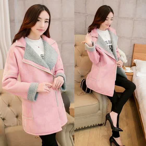 Korean pink faux fur jacket image