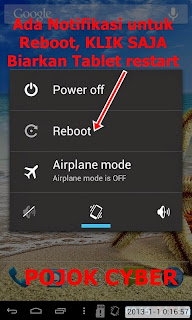 Reboot tablet setelah root berhasil