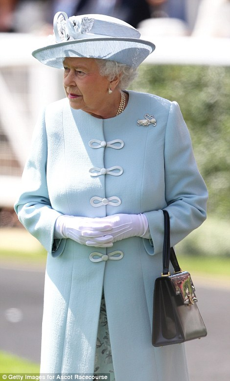 the Queen in a pale blue Angela Kelly coat on day 1 at Royal Ascot 2014