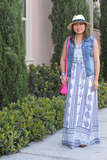 Summer Maxi Dress, J Crew Denim Vest, Purple Peridot Blue Cascade Tassel Necklace, Fashion Over 40, OC Blogger