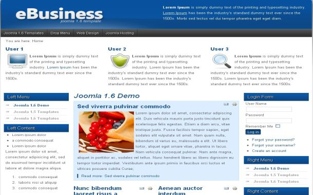 Free Light Business Blue Joomla Theme Template
