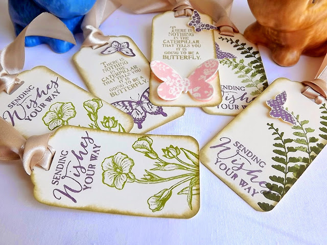Stampin Up! butterfly basics vintage gift tags