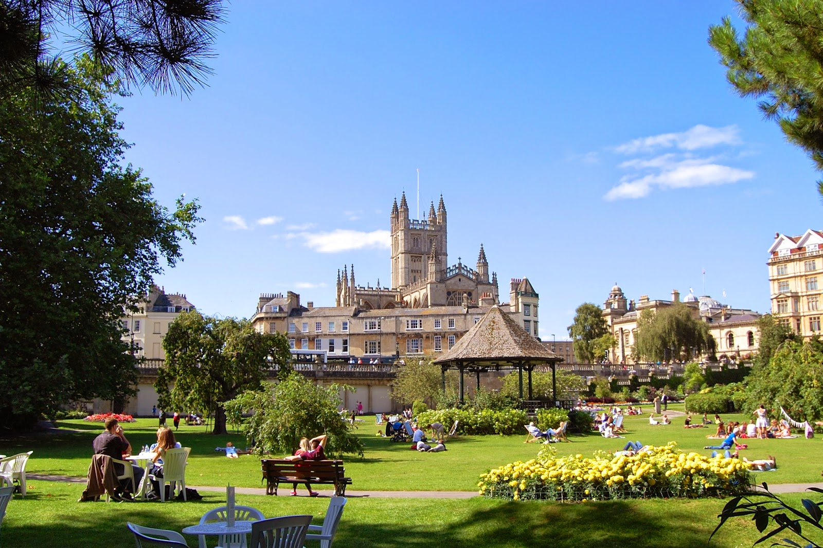 Parade Gardens with Bath Abbey as backdrop