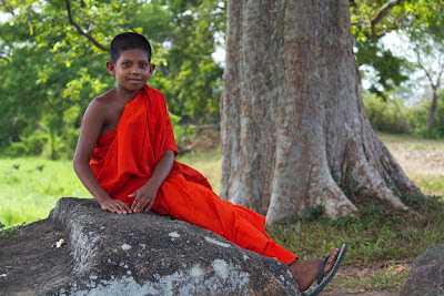 A photograph of a novice monk taken at magulmaha viharaya in Lahugala, Sri Lanka