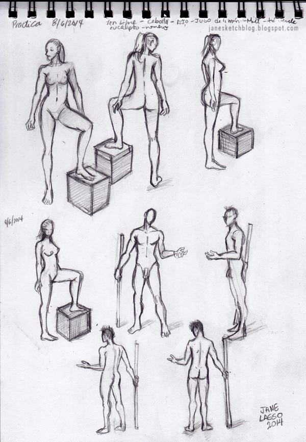 Dibujo a lápiz cuerpo humano hombre y mujer