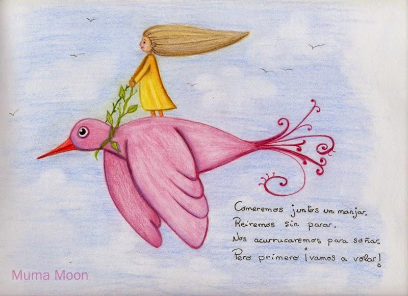Ilustracion niña volando pajaro