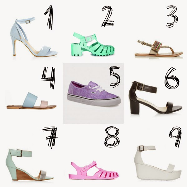 summer shoes, shoes, slider, shoe trends, 90s, jelly shoes, vans, ankle strapped shoe, what shoes are in fashion for summer 2014
