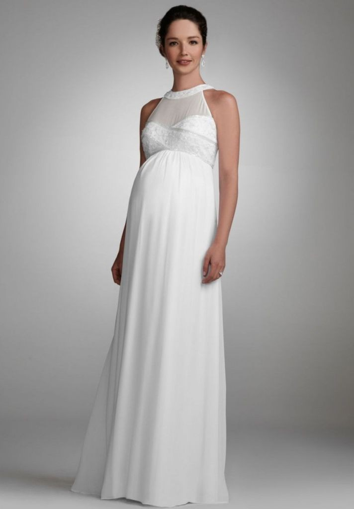 Chiffon Jewel Empire A-Line Long Maternity Wedding Dress