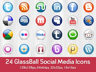 24 Glossy Social Media Icons (PSD)