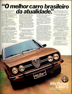 propaganda Alfa Romeo 2300 TI - 1977.  reclame de carros anos 70. brazilian advertising cars in the 70. os anos 70. história da década de 70; Brazil in the 70s; propaganda carros anos 70; Oswaldo Hernandez;