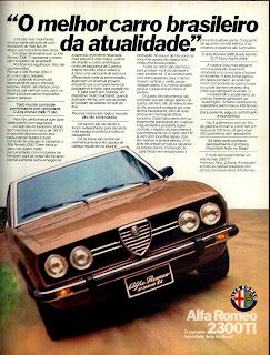 propaganda Alfa Romeo 2300 TI - 1977.  reclame de carros anos 70. brazilian advertising cars in the 70. os anos 70. história da década de 70; Brazil in the 70s; propaganda carros anos 70; Oswaldo Hernandez;