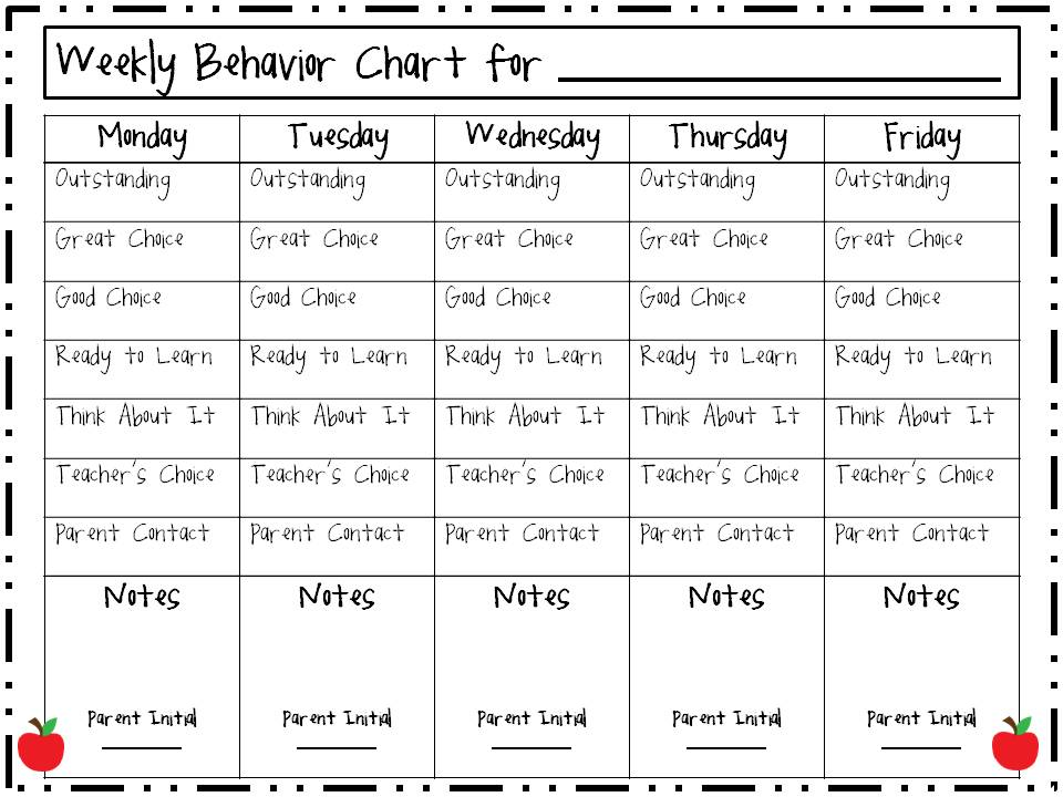 Unusual image intended for weekly behavior chart printable
