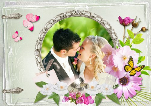 silver wedding frame
