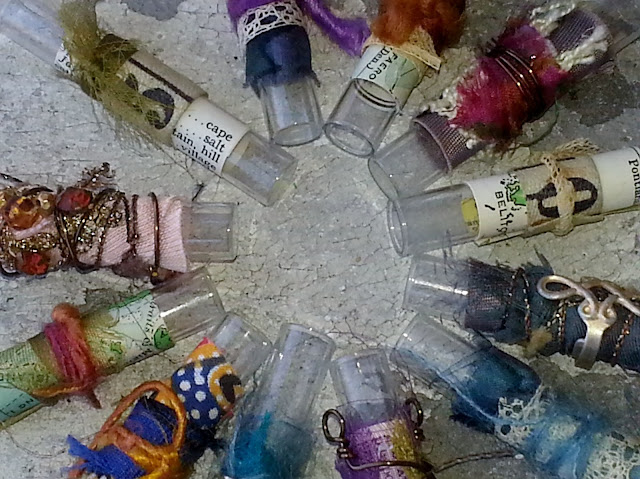 fiber arts decorated glass vials