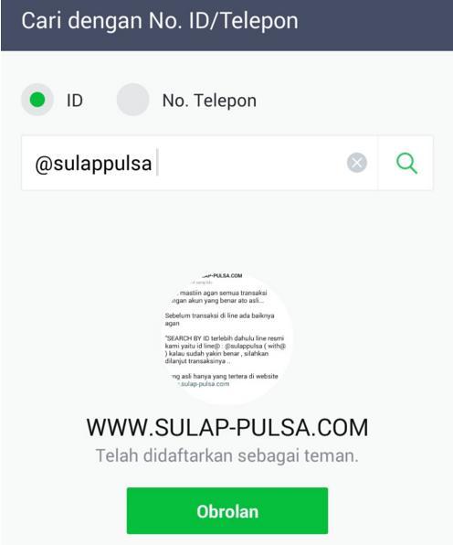Cara Add Line@ Sulap Pulsa dengan Benar