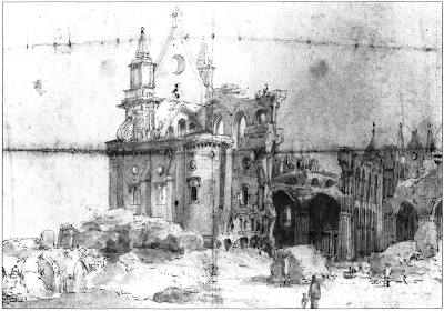 Old St Paul's Cathedral in ruins after the Great Fire of London