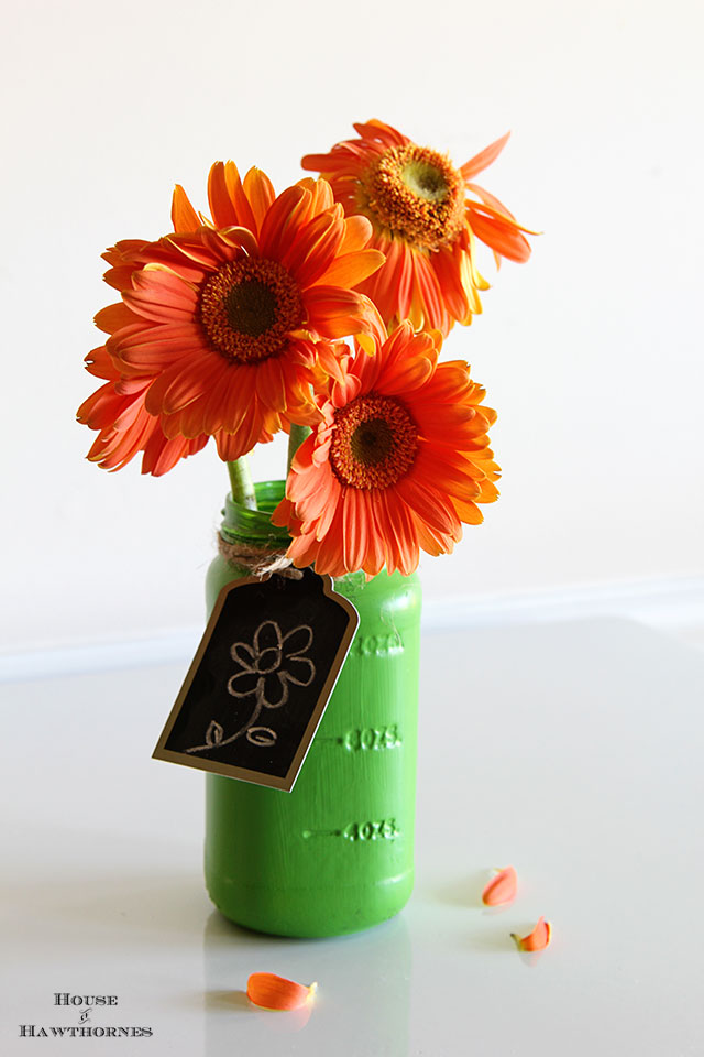 Painted mason jar as a vase (or spaghetti sauce jar)