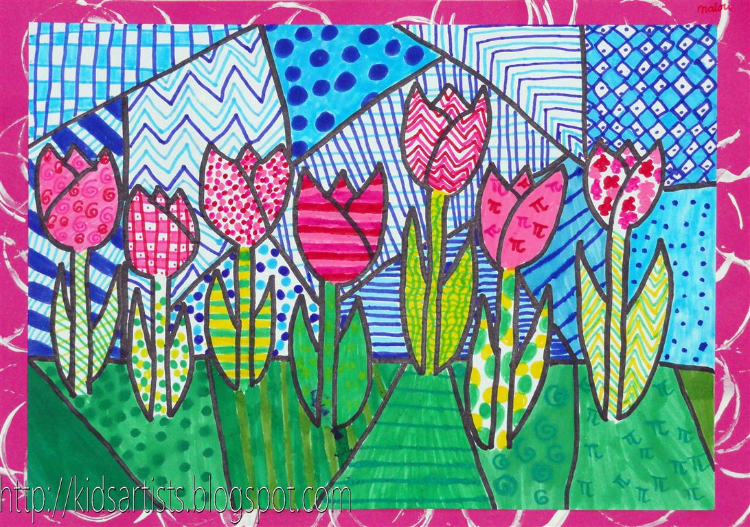 Dutch tulips in the style of romero britto, by malou, grade 6