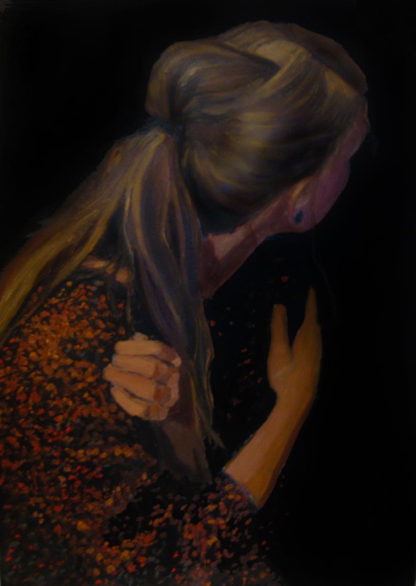 obraz portret malartswo olejny inny ciekawy autoportret tyłem w starym stylu Urbaniak