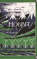 Hardback book cover of The Hobbit by J.R.R. Tolkien