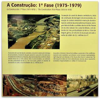 Painel registra o histórico da construção da Usina Hidrelétrica de Itaipu.