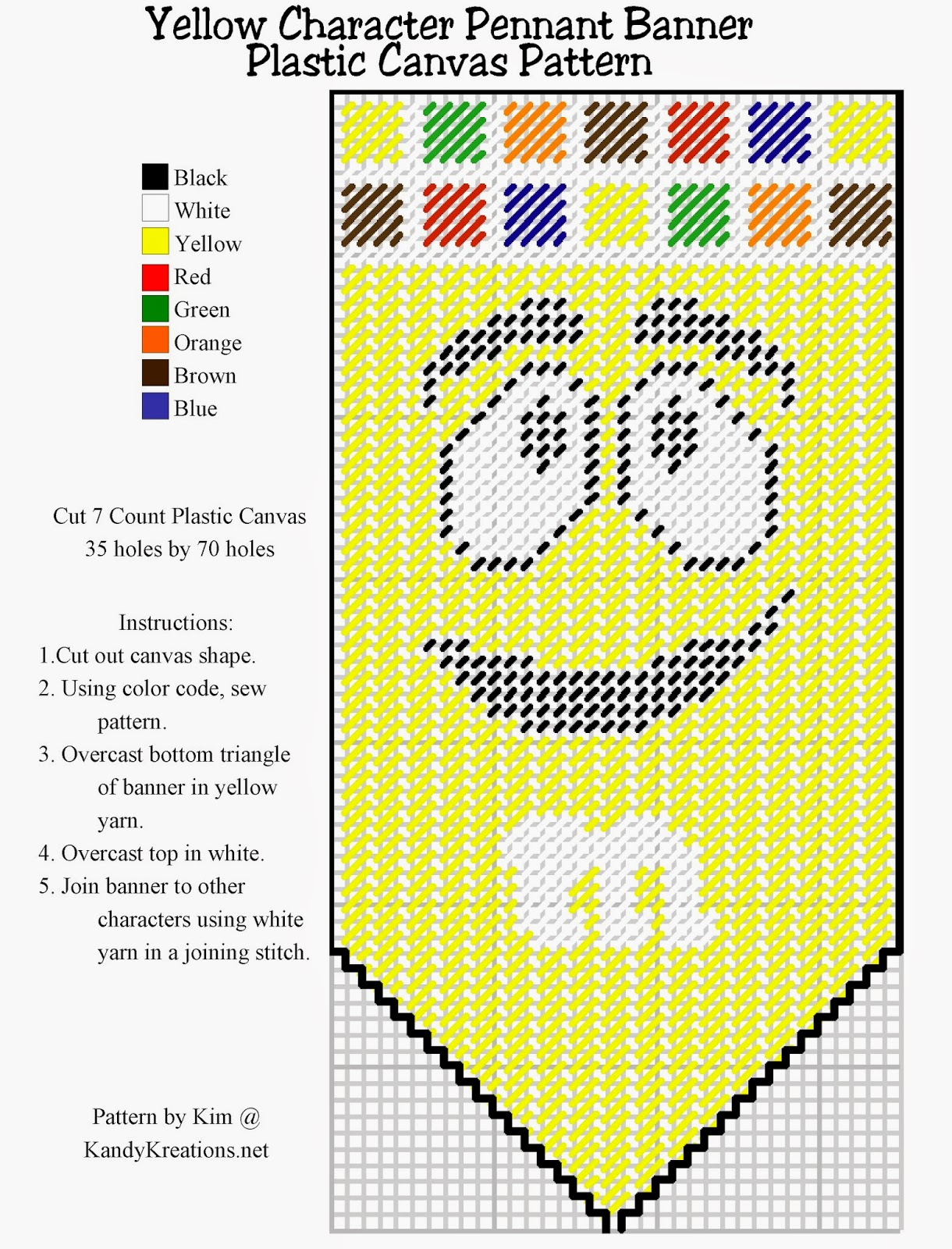 Make your own pennant banner with the yellow M&M character using this Plastic canvas pattern freebie.  Simply right click and save this pattern to create your own party decoration or kitchen decor.