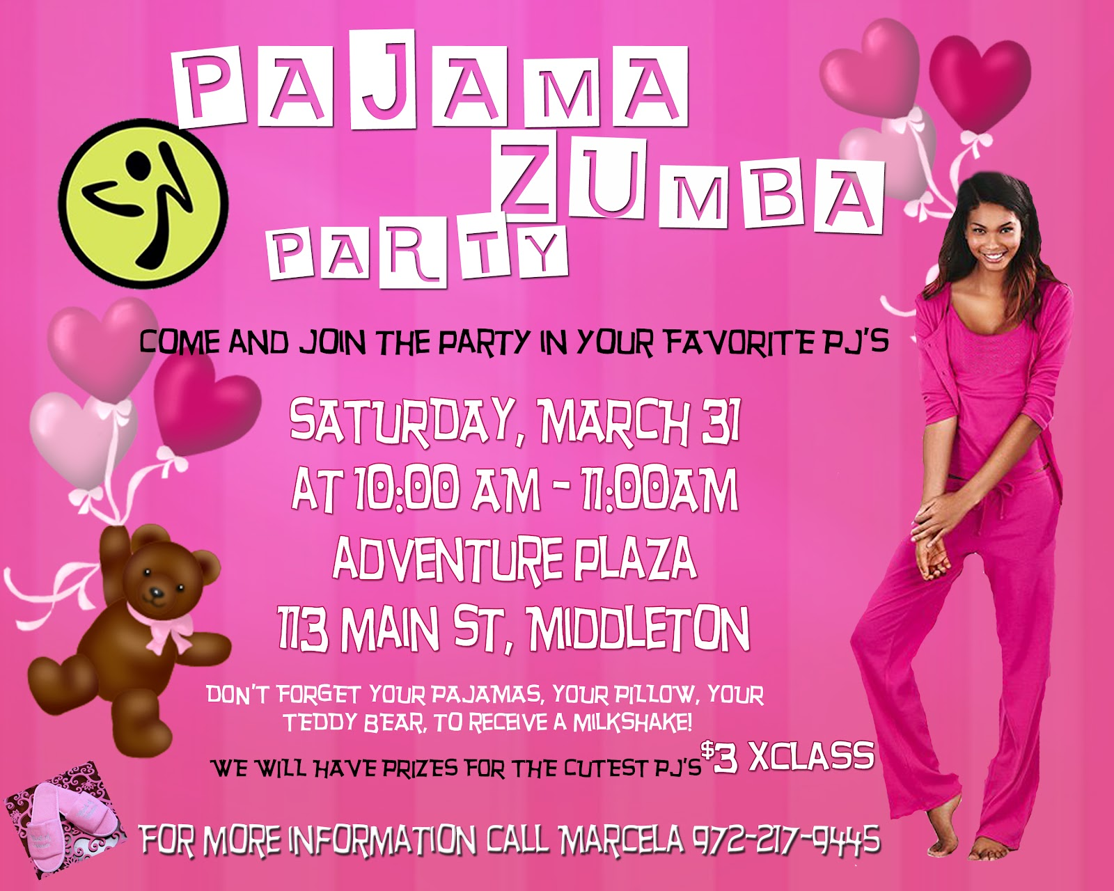 Marcela zumba fitness come and join the party in your favorite pjs do not forget your pjs bring your pillow or your teddy bear and you will receive a free milkshake stopboris Images