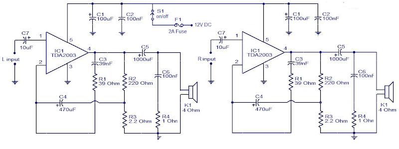 Car audio amplifier using TDA2003 IC