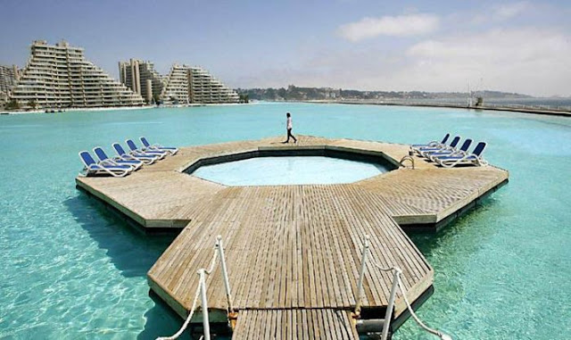 The largest swimming pool in the world at San Alfonso del Mar resort in Algarrobo, Chile, amazing, largest swimming pool, records, pictures