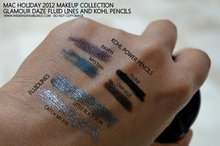 MAC Holiday 2012 Makeup Collection Glamour Daze Fluidlines Kohl Power Eye Pencils Swatches Catch My Eye Little Black Bow Raven Mystery Orpheus Feline Indian Beauty Blog Darker Skin
