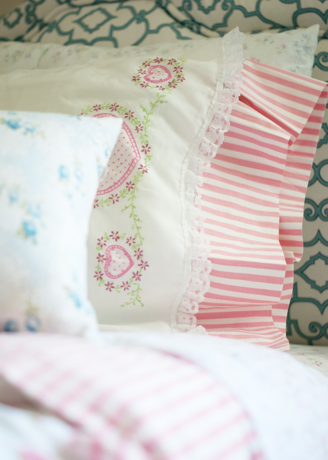 Vintage Linens on DIY Bed