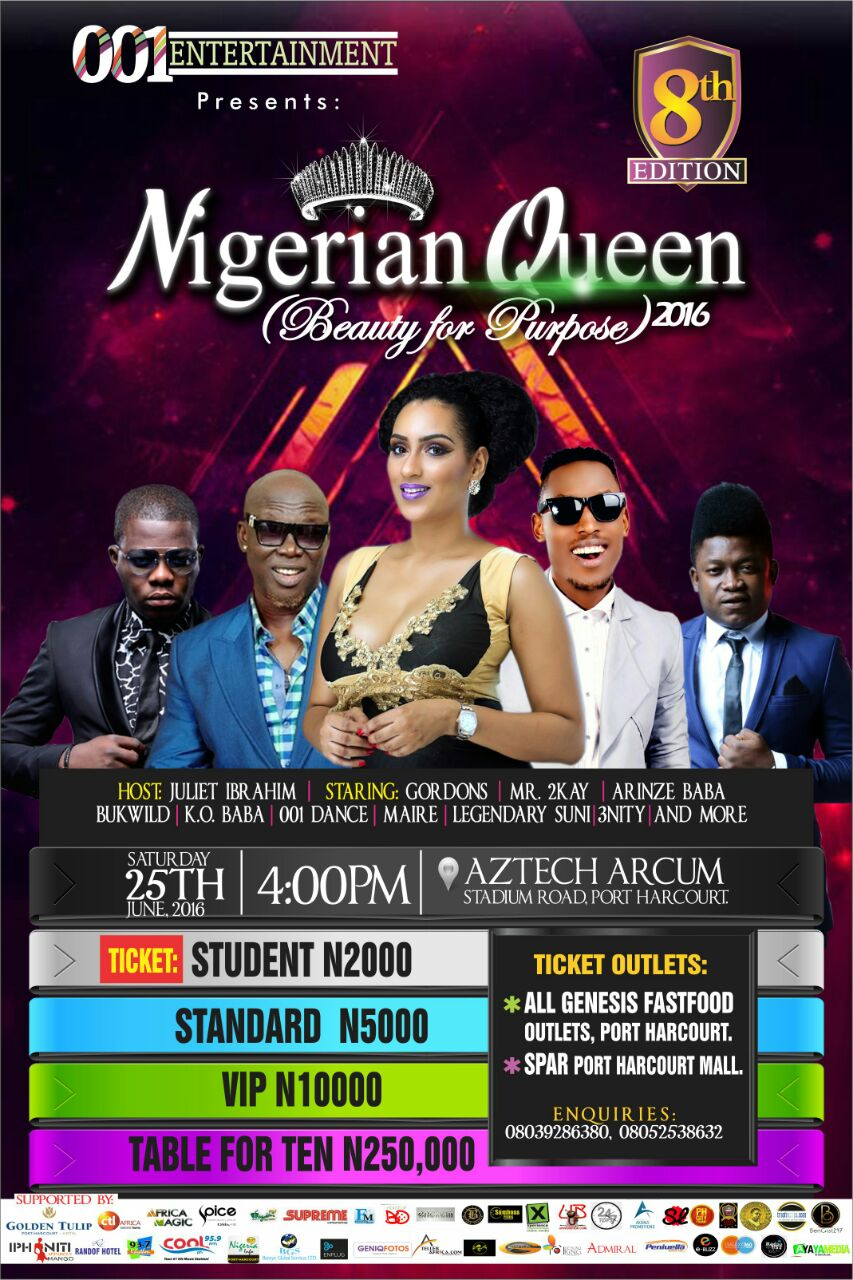 "Juliet Ibrahim, Mr.2kay, Gordons, Arinze Baba and others to perform at ""The Nigerian Queen 2016"""